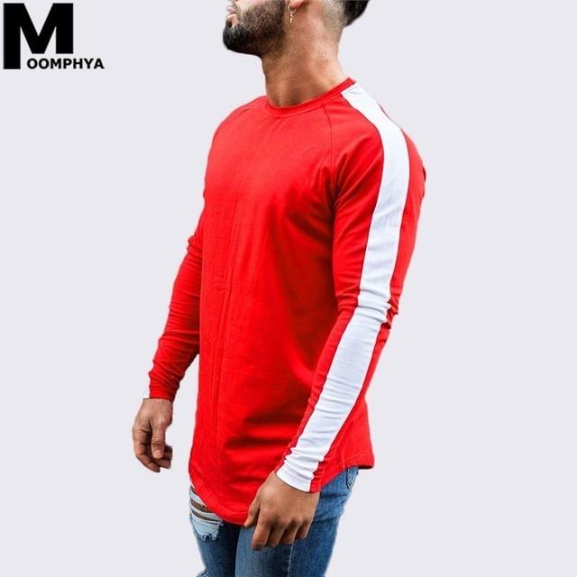 0b78e35ce0f1 Moomphya 2019 New Side stripes long sleeve men t shirt Streetwear curved  hem skinny t-shirt for men Hip hop stylish funny tshirt