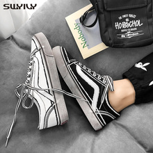 SWYIVY Men Canvas Shoes White Sneakers For Men New 2020 Spring Lace up Fashion Solid Male Shoes Chunky Sneakers Comfortable 44