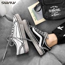 SWYIVY erkekler kanvas ayakkabılar beyaz ayakkabı erkekler için yeni 2020 bahar dantel up moda katı erkek ayakkabı tıknaz Sneakers rahat 44