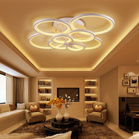 Salon Home Deco Round Lighting Large Led Ring Hanging Ceiling Light Lamp Dimmable Remote Control For Drawing Living Bed Room
