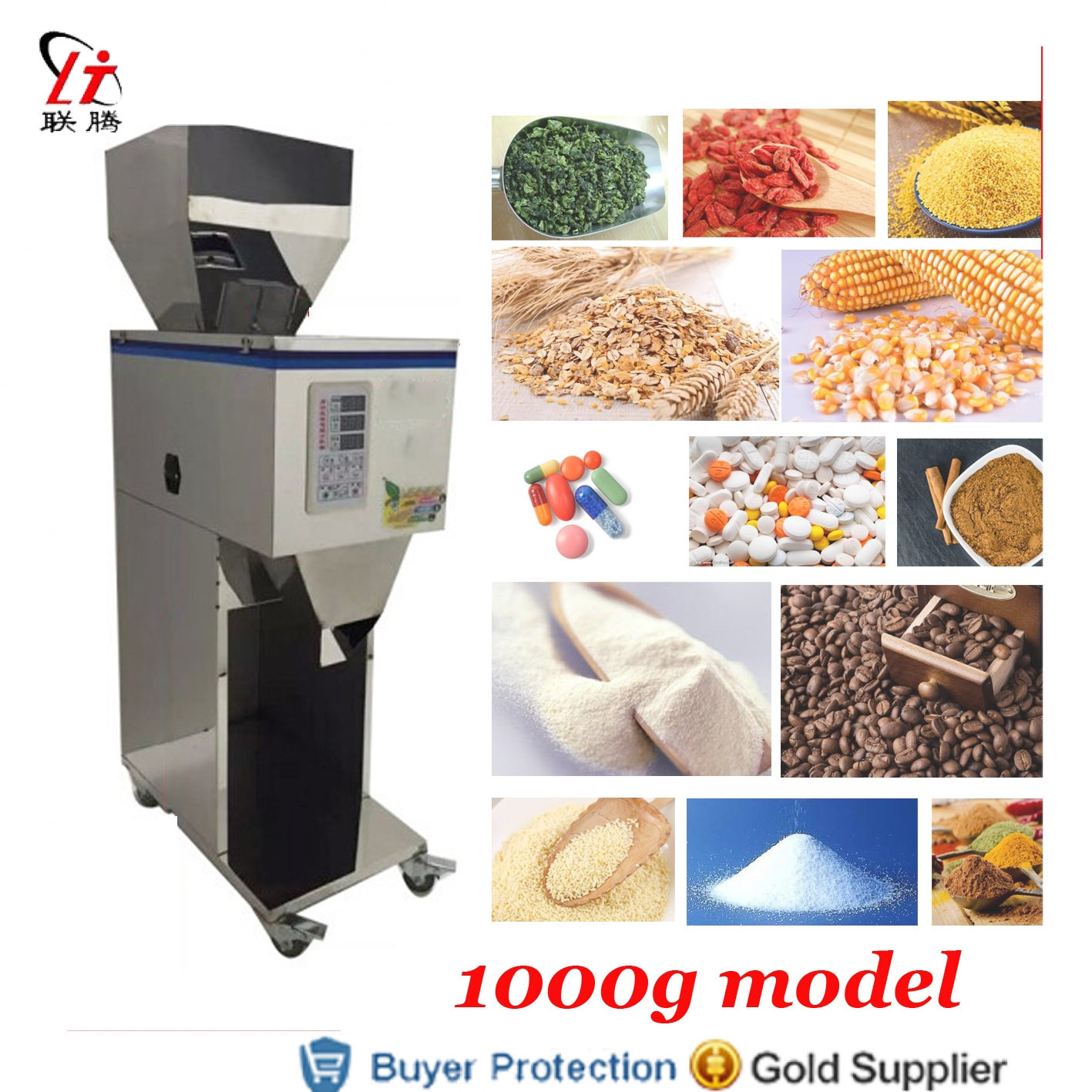 1000g Doser Rice Powder Corn Grain Weighing And Filling Machine Tea Leaf Medicine Seed Salt Packing