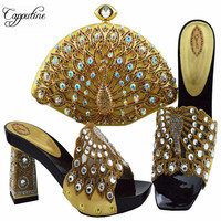 Capputine Nigerian Metal Decoration Crystal Woman Shoes And Bag Set European Fashion Pumps Shoes And Bags Set For Party 8Colors