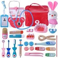 2019 Children Pretend Play Doctor Toys Wooden Simulation Doctor Suitcase for Boys Girls Learning Gift Interest Development Kit