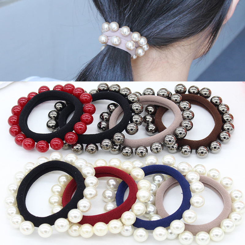 Hot 1PC 2018 New Pearl Beads Hair Rope For Women Seamless Rings   Headwear   Girls Horsetail holder Fashion Jewelry