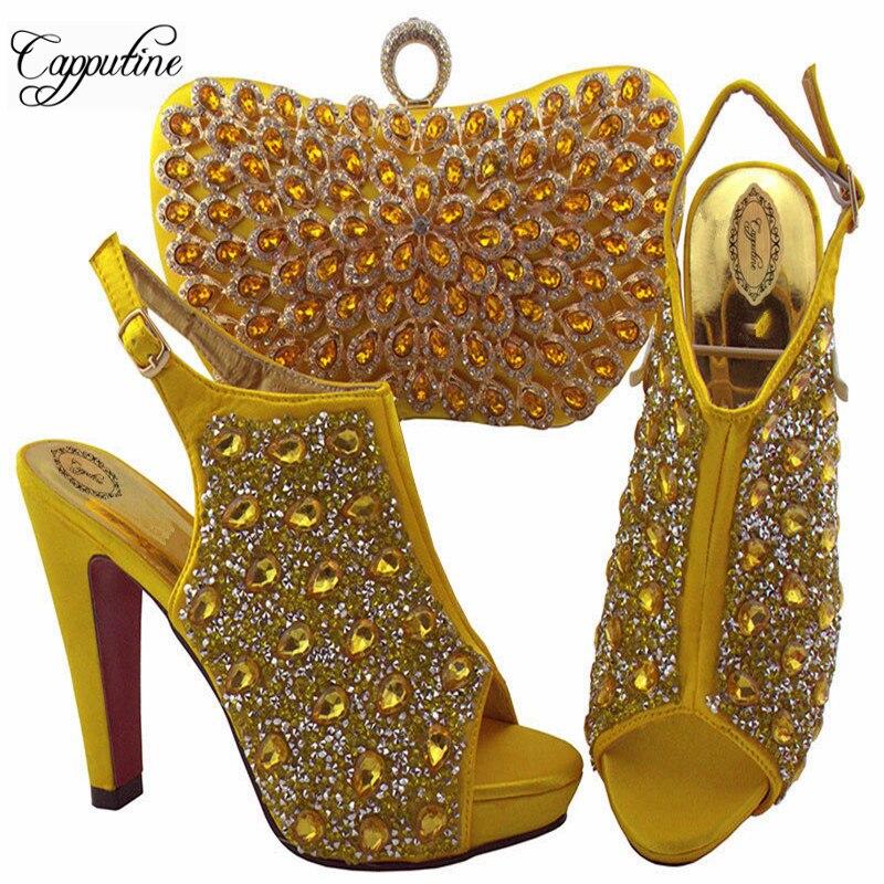 Ayakk.'ten Kadın Pompaları'de 2019 Yeni Varış Kadın Yüksek Topuklu Ayakkabı Ve çanta seti Düğün Için Sarı Renk Moda Tasarım Taklidi Ayakkabı Ile Çanta SL005'da  Grup 1