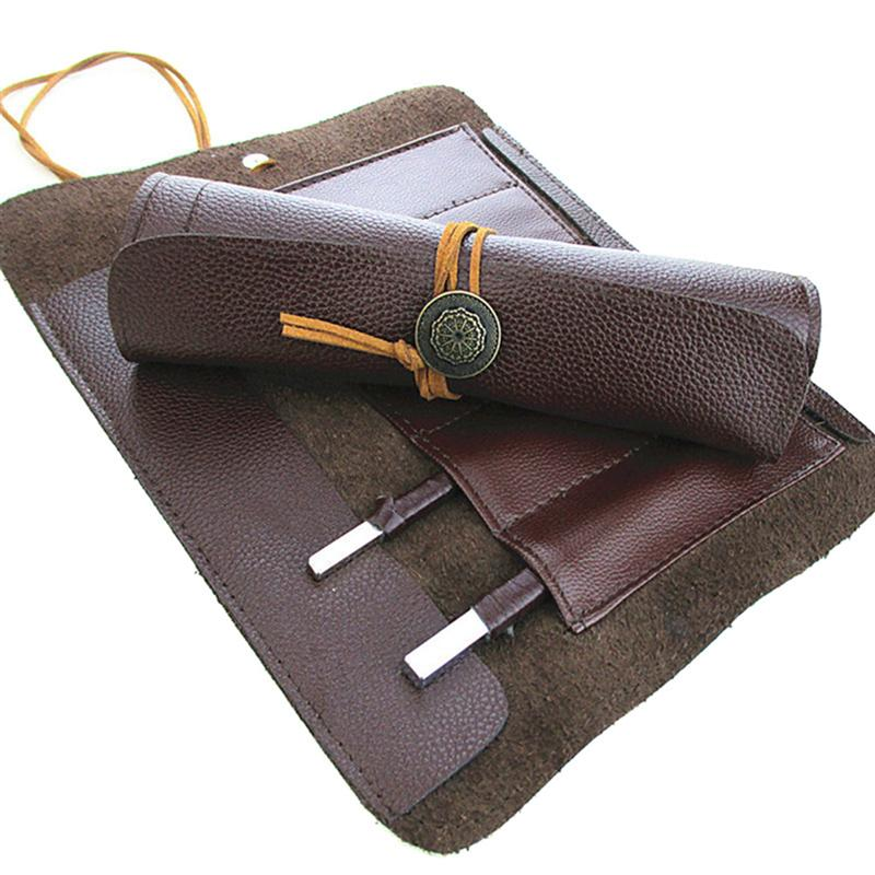 1 PC Durable Hand Tools Bag Knives Roll Up Bag Carving Pocket Knives Leather Tool Bag Storage Organizer For Woodworking