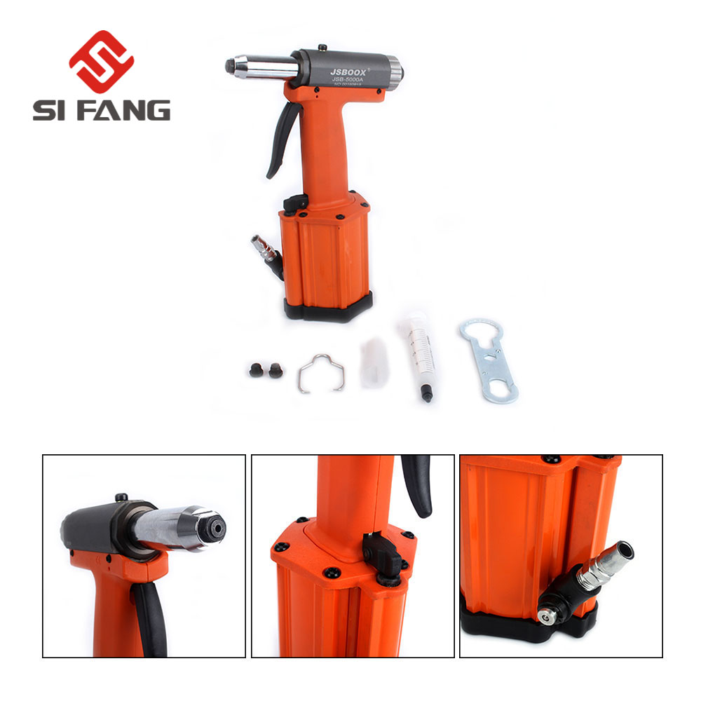 SI FANG High Quality Powerful Air Riveter Gun Industrial Handheld Pneumatic  Riveting Tool 2 4mm,3 2mm,4mm Nose Air Rivets Nail