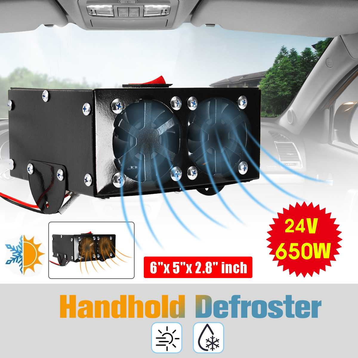 Audew 650 W 12/24 V Auto radiateur de voiture Dégivreur antibuée Chauffage Warmer Voiture Sèche radiateur soufflant électrique Dégivreur de Pare-Brise