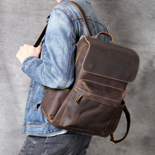 купить Crazy Horse Cowhide Men Backpack School Bags Knapsack Male Daypack Travel Camputer Bag Vintage 100% Genuine Leather Rucksack New дешево