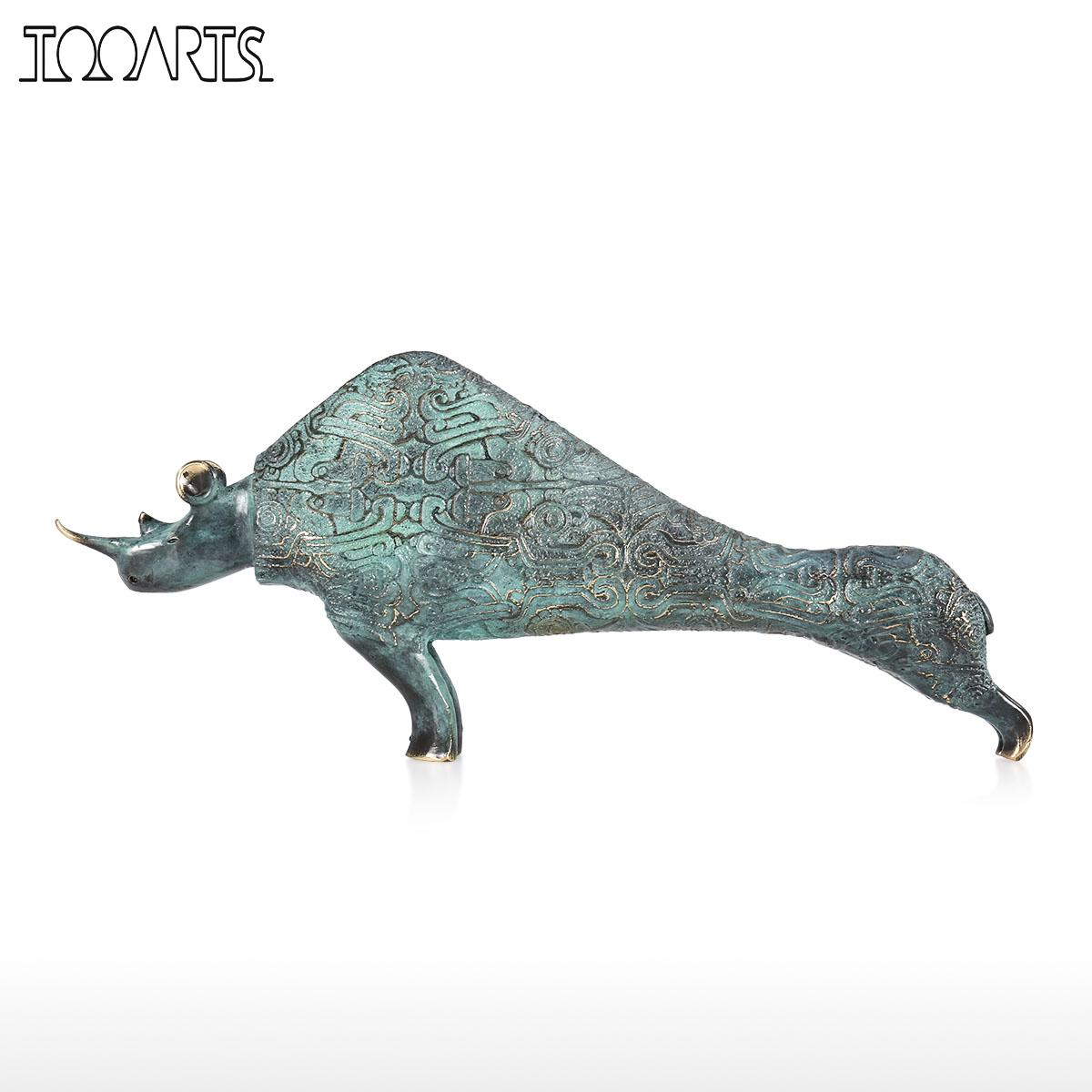 Tooarts statue modern Rhinoceros Sculpture Handmade Bronze Statues Decorative Tabletop Rhinoceros Ideal Gift for Home Decoration