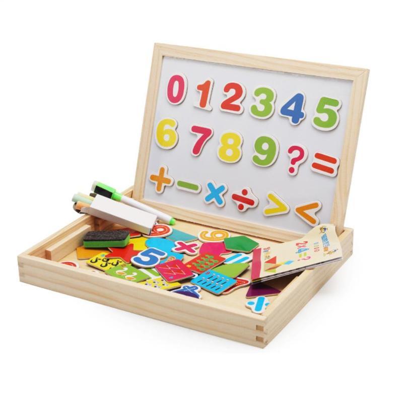 1 Set Baby Houten Multifunctionele Digitale Board Speelgoed Double Side Magnetische Board Puzzel Educatief Tekening Speelgoed