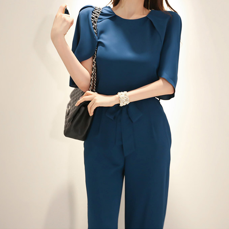 2019 Spring Summer Elegant O-neck   Jumpsuits   Women Half Sleeve Lace Up Long Rompers OL Casual Office Wear Playsuits