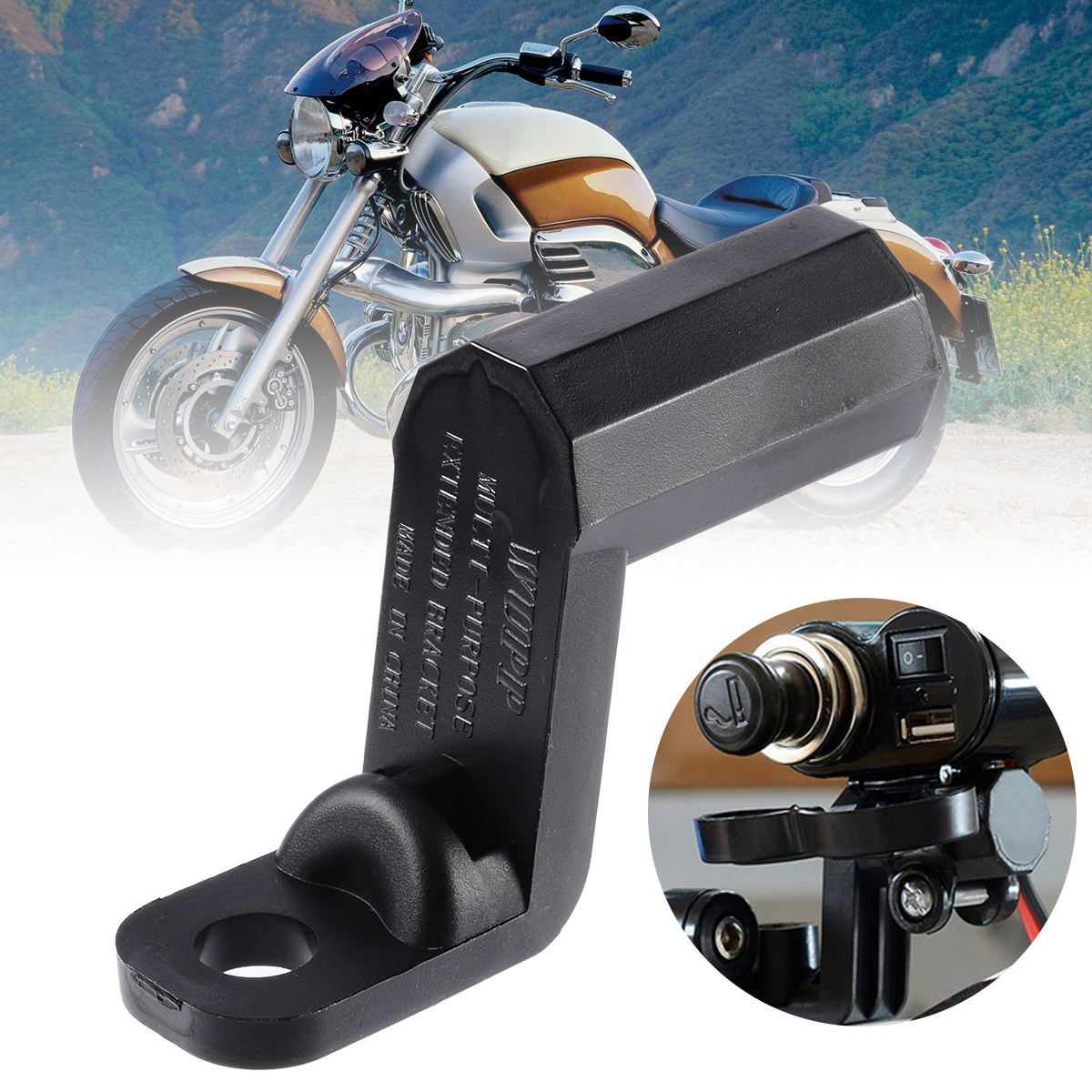 Mayitr 1pc Motorcycle Rearview Side Mirror Extender Bracket For Phone Holder Stands Mount Clamp Support