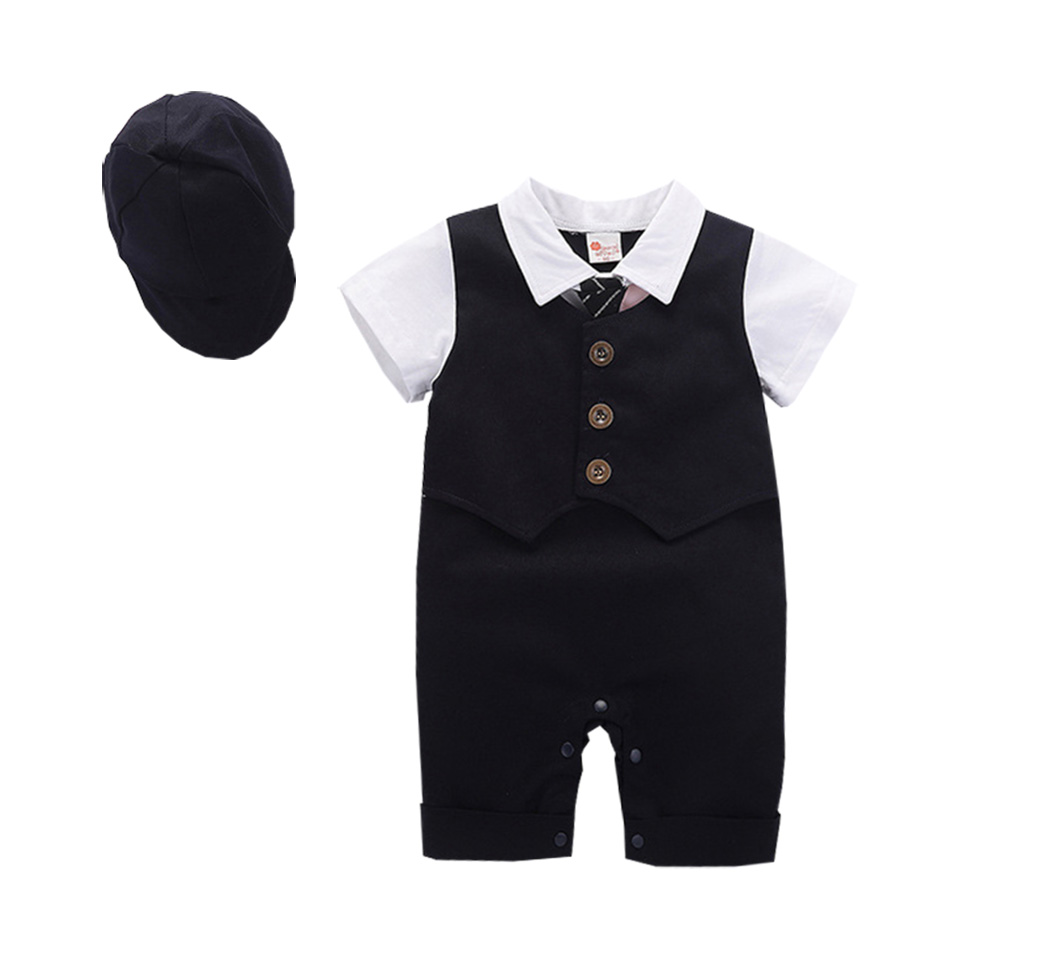 Gentleman Baby Short Sleeve Romper Wedding Party Baby Boys Clothes Cute Newborn Clothes Onesies With Hat Free Shipping