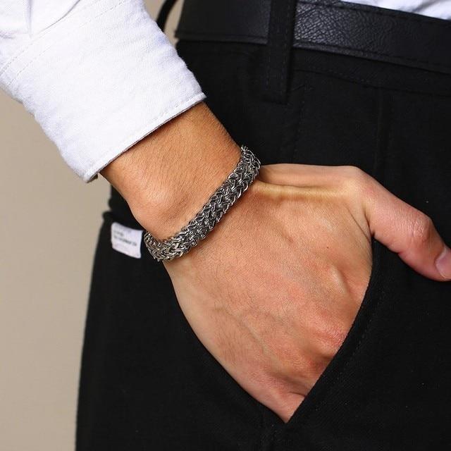 מודרני ייחודי 8.5 MM זוגי שורה Silverly נירוסטה באלינזי דוחה שרשרת צמיד לגברים תכשיטי 7.5-8.36 אינץ