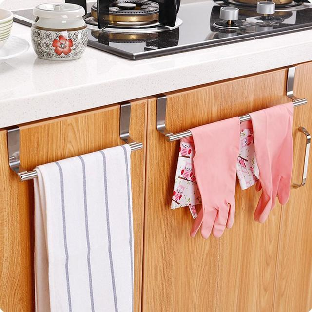 SaiDeng Kitchen Stainless Steel Door Hanging Towel Rack Single Rod  Nail Free Duster Cloth Hanger  5