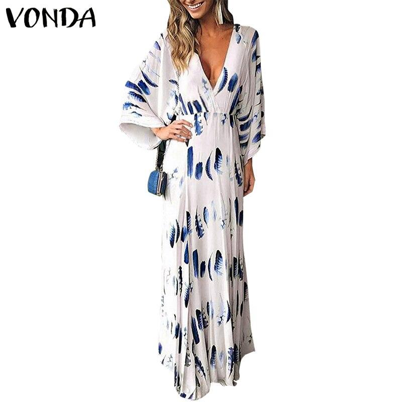 Женское длинное платье VONDA, винтажное платье с цветочным принтом и рукавами-фонариками, для пляжа и вечеринок, лето 2019