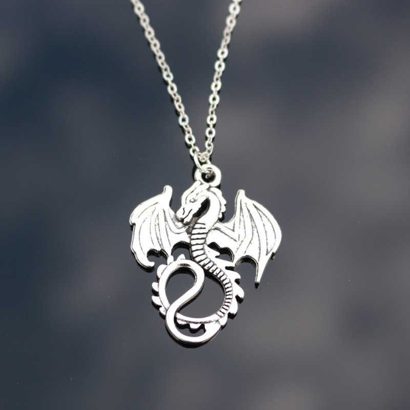 New Fashion Silver Pendant dragon Necklace Choker Charm silver metal chain Factory Price black leather Handmade jewelry