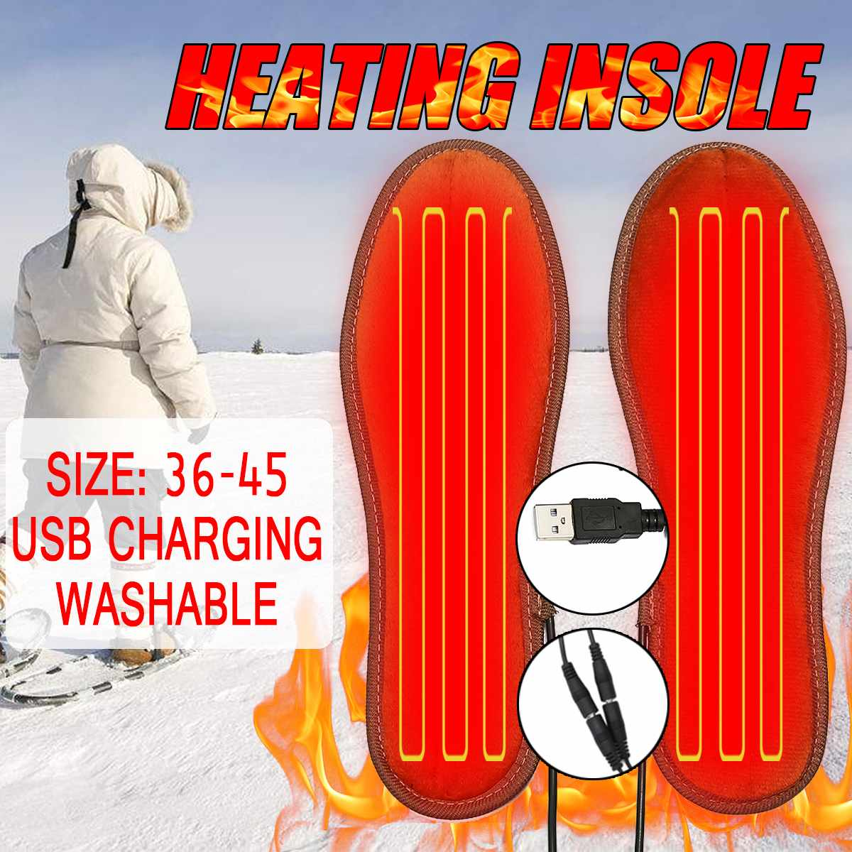 Unisex USB Rechargeable Electric Heated Insoles for Shoes Wi