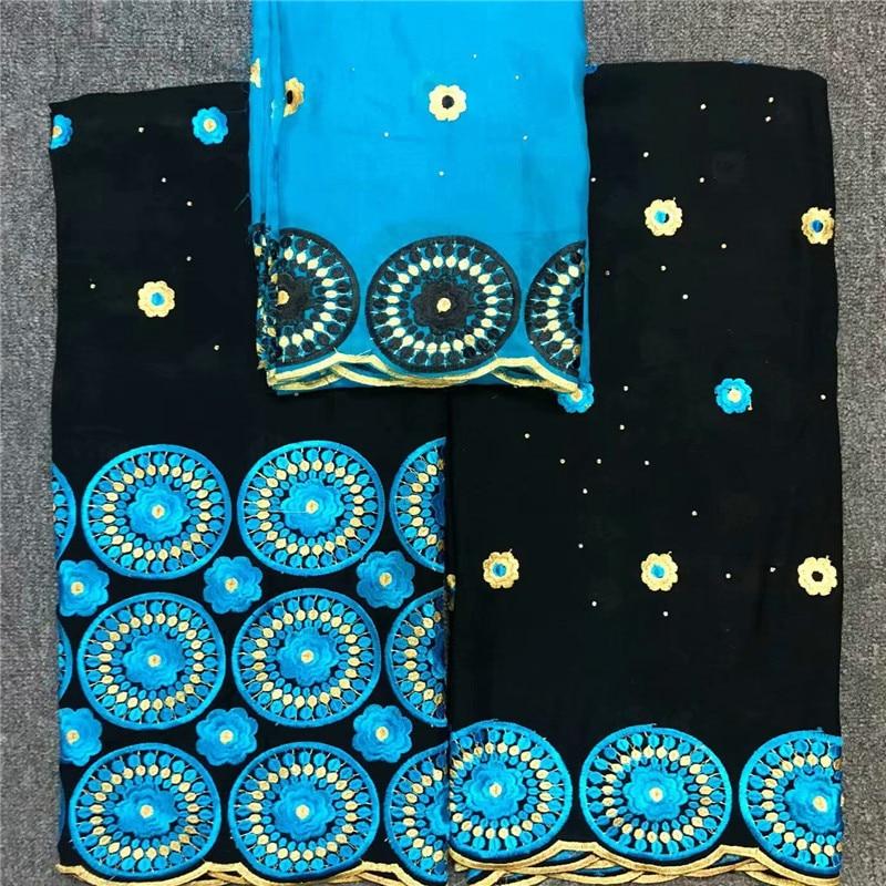 Patrón de flores bordadas en círculos 7 yardas de encaje de gasa suiza con cuentas HLS41, tela de encaje de buena calidad envío gratis algodón-in Tela from Hogar y Mascotas    1