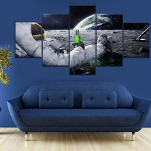 5 Piece Canvas Art Astronaut Earth Lunar Landscape Universe Poster Paintings on Wall for Home Decorations Decor