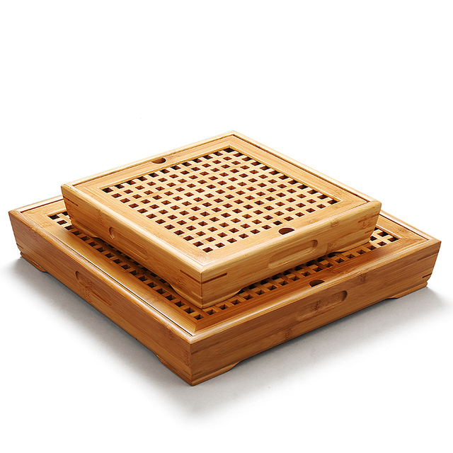 Hot sale large small storage tea tray tea table Bamboo Tea tray drawer-style drainage tea tray decoration Free Shipping