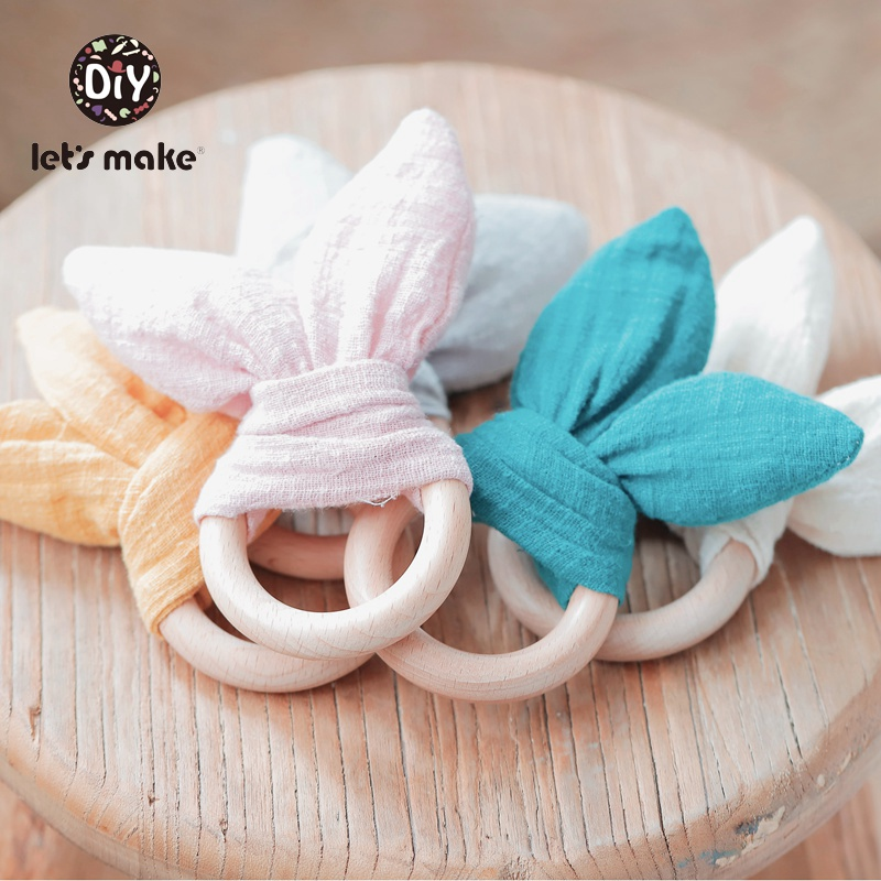 Let's Make Bunny Ear Baby Teething Ring 1pc Teether 70mm Safe Organic Wooden Ring Nursing Training Newborns Toys Baby Teethers