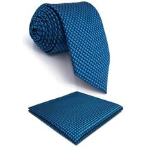 Blue Solid Silk Mens Necktie Fashion Wedding Novelty Gift Extra long size Hanky Pack