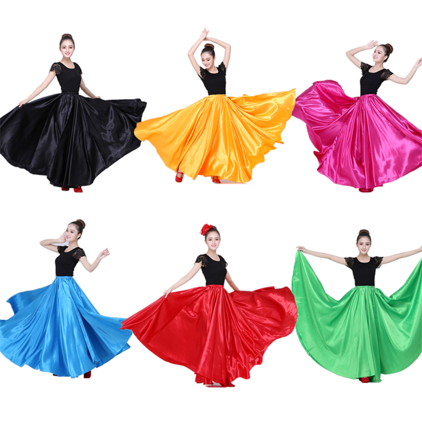 Show details for 10Color Flamenco Skirt For Women Spanish Dance Gypsy Dress Party Stage Woman Costume Chorus Belly Skirts Stretch 360-720 Degree