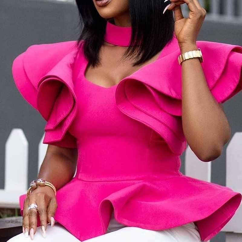 Простая Falbala, стандартная блузка с коротким рукавом, женские летние топы с лепестками роз, элегантные женские блузки OL