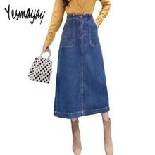 9880d41a06d 2019 Весна Осень Макси длинные синие джинсовые юбки женские плюс размер 3XL джинсовая  юбка с высокой