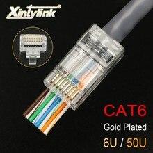Conector xintylink ez rj45 cat6 rg rj 45 ethernet cabo plug utp 8p8c rg45 cat 6 rede jack lan conector modular unshielded