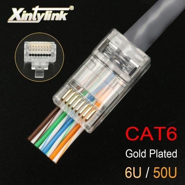 Xintylink EZ rj45 connettore cat6 rg rj 45 spina del cavo ethernet utp 8P8C rg45 gatto 6 presa di rete lan schermato modulare conector