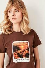 Trendyol Brown Polaroid Printed Basic Knitted T-Shirts TWOSS19AD0010()