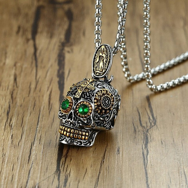 0a5b9e6e65d7 Men s Mexican Sugar Skull Necklace Punk Green Eyes Gold Teeth Pendant with  Gothic Cross Stainless Steel Biker Male Jewelry