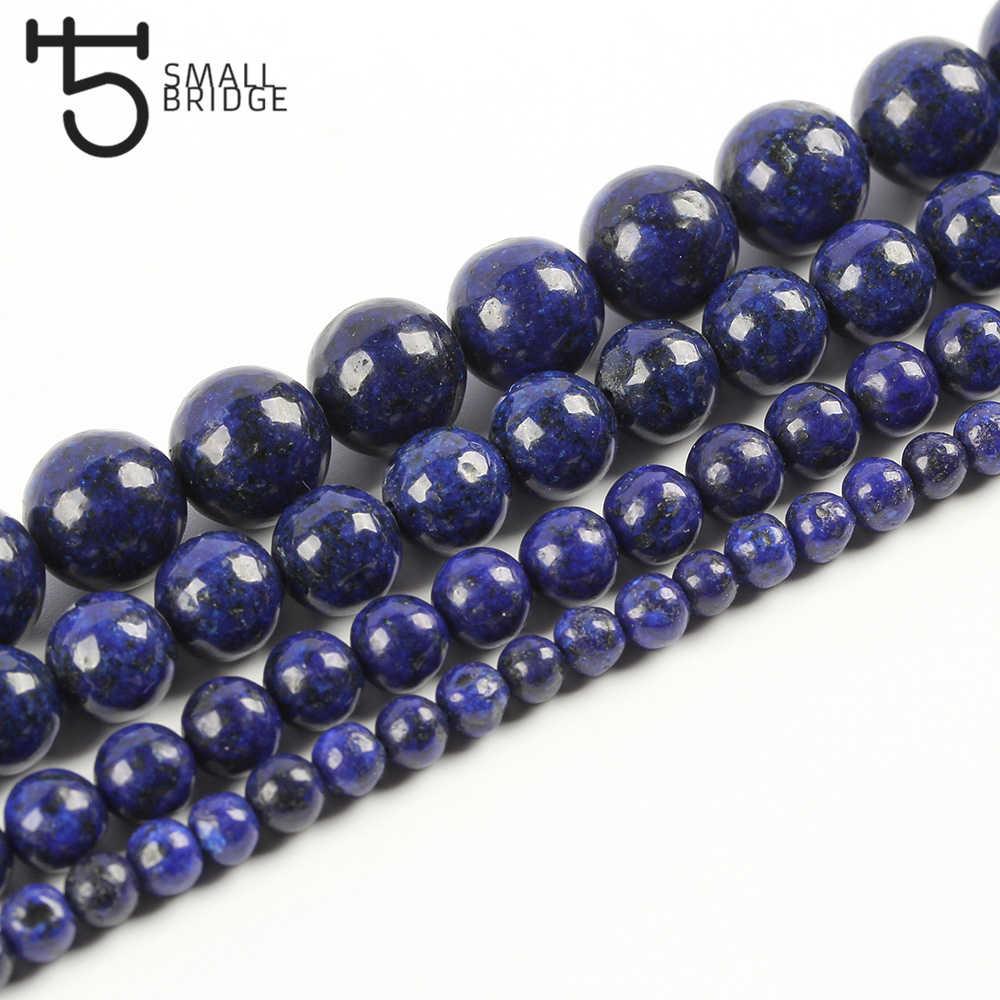 6 8 10 MM Natürliche Blau Lapis Lazuli Perlen Für Herstellung Von Schmuck Armband Diy Zubehör Glatte Runde Stein Strang Perlen s104