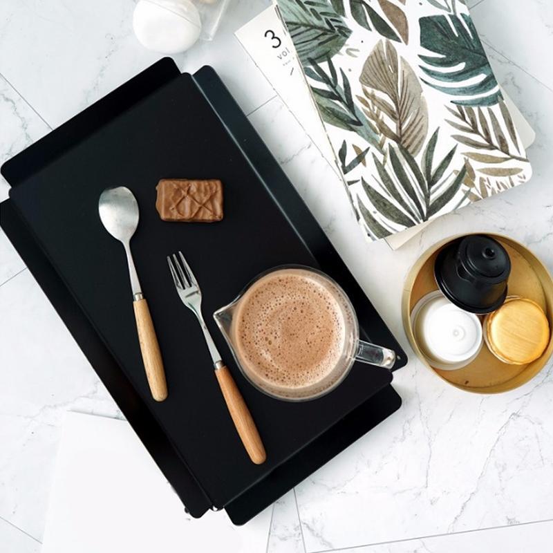 北欧スタイルコーヒーショップダイニングトレイバーデザートサービングトレイお茶朝食パンホルダースナックプレート収納プレートサービングトレイ