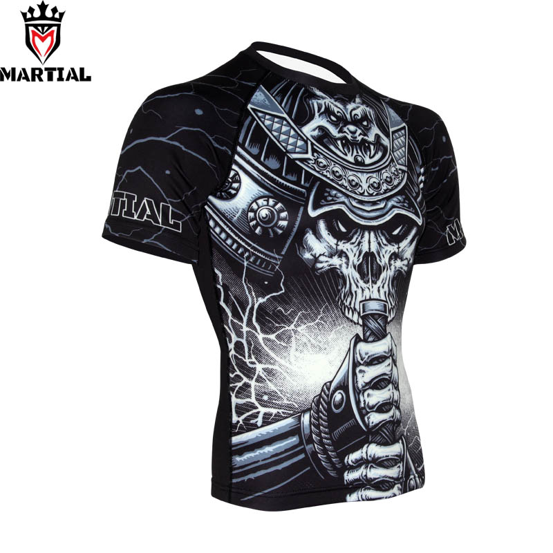 Martial :WARRIOR Original Design MMA Rashguard Quick Dry Outdoor Shirt Men Sport T Shirt Muay Thai Shirts Compression Tights