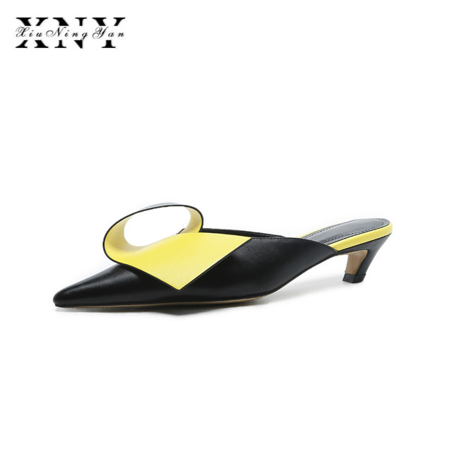 858192ca2be7 XIUNINGYAN Genuine Leather Mules Shoes Women Slippers New Summer Slides Low  Heels Square Toe Lady Sandals Black Beige Plus size