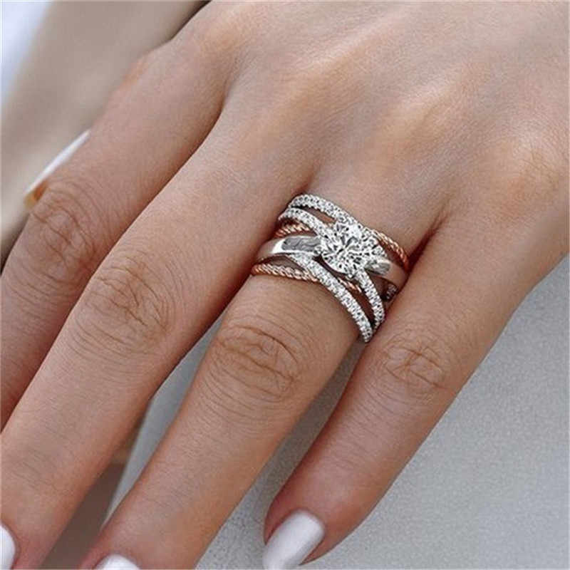 New Rose Gold Rings For Women Full Crystal Rhinestone Wedding Ring For Ladies Women Accessories Across Finger Rings Jewelry Gift