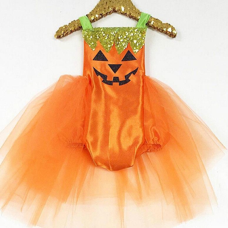 Для маленьких девочек на Хэллоуин для маленьких девочек детский комбинезон, комбинезон Кружевное платье-пачка костюм Одежда 0-24 м
