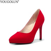 Women Pumps Ladies High Thin Heels New Style Sexy Woman Red Sole Bottom Red Black Pointed toe Platform Party Shoes YOUGOLUN A001