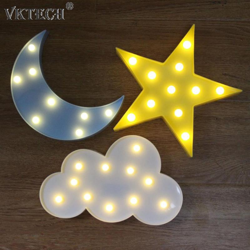 Cute Cloud Star Moon 3D LED Night Light Cloud Lamp Baby Kids Bedroom Indoor Lighting Decoration Lamp Desk Table Lamps