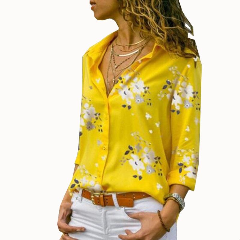 Elegant Long Sleeve Print V-Neck Chiffon Blouse Female Work Wear Shirts