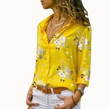 60ed9779c4b5 Mulheres Encabeça Blusas 2018 Outono Elegante Impressão De Manga Comprida  Com Decote Em V Chiffon Blusa Camisas do Desgaste do T..