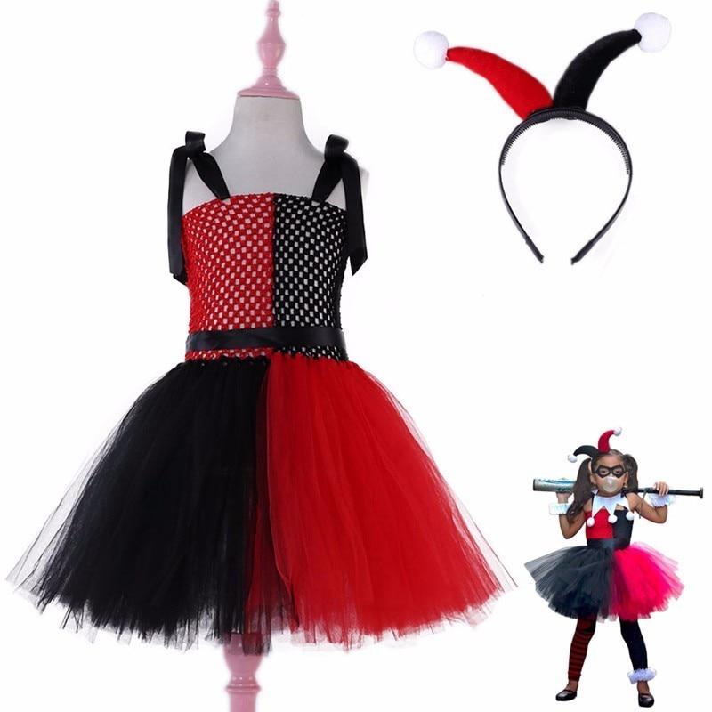 Halloween Girls Harley Quinn Joker Cosplay Tutu Dress Headband Christmas Wedding Carnival Party Gown Kids Princess Clown Costume