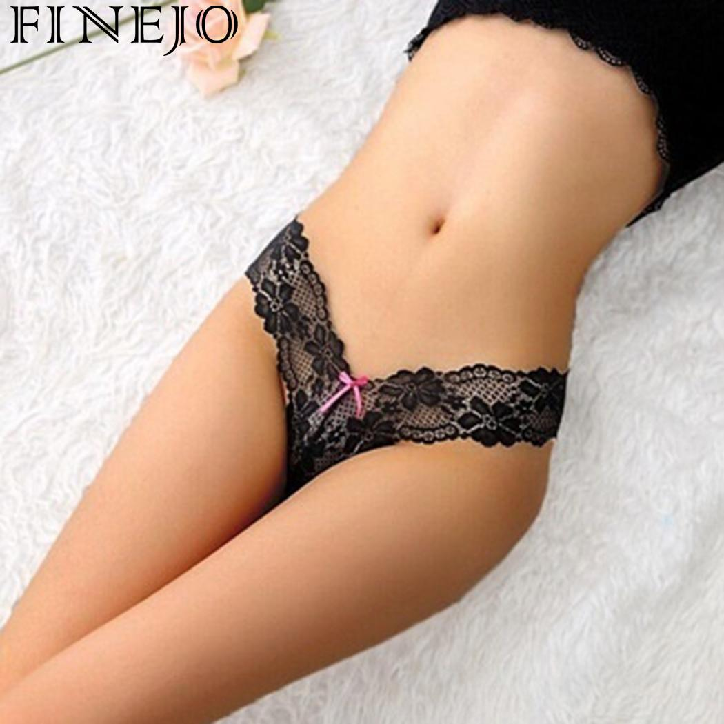 Women Lingerie Sexy Thong   Panties   Low Waist Lace Underwear Bow Decor Knickers Women G-string sexy   panties