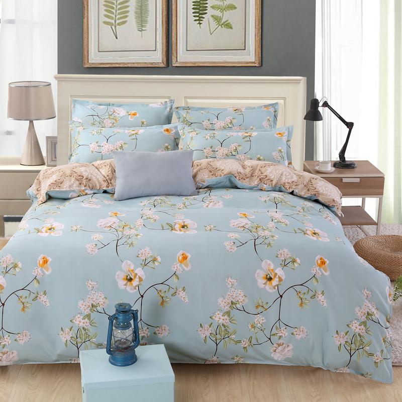 Floral Bedspreads And Comforters.Us 23 75 5 Off Flower Bed Linen Floral Bedding Set Queen King Size Duvet Comforter Bed Covers Flat Sheets Pillowcase Bedspread For Adult Couple In