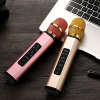 MEMTEQ 1pc New K6 Wireless Bluetooth Microphone Dual Speaker Portable Smart Singing Microphone for Mobile Phone Pink Gold Silver