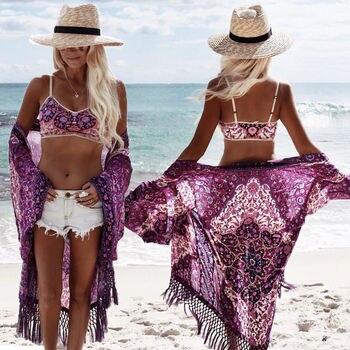 Women Beach Tunic Chiffon Beach Cover Up Long Tassel Beach Cardigan Feminino Swimsuit Bathing Suit Cover-Ups Pareo 1
